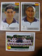 FOOT STICKER FRANCE PANINI UEFA CHAMPIONS LEAGUE 2001/02 - N°001-006-007 - REAL MADRID - ETAT NEUF - DOS D´ORIGINE - Panini