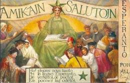 Postcard (Esperanto) - Amikajn Salutojn - Esperanto