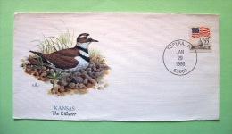 USA 1986 FDC Cover Topeka - Flag Bird Killdeer - Lettres & Documents