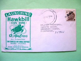 USA 1969 Cover From Vallejo To Weimar - Eldorado County - Launching Ship Hawkbill - Roosevelt - Sea Turtle - Etats-Unis