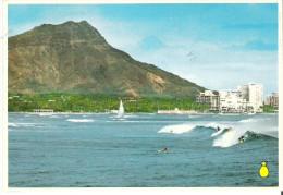 Surfing Before Majestic Diamond Head, A Favorite Pastime In Waikiki Beach, Hawaii - Honolulu