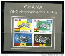 GHANA 1966  New WHO Headquarters  Souvenir Sheet Scott 250a MNH ** - Ghana (1957-...)