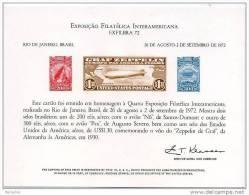 USPS Official 1972 EXFILBRA  Interamerican  Exhibition Souvenir Card-  Zeppelin - Philatelic Exhibitions