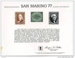USPS Official 1977 SAN MARINO  International  Stamp Exhibition   Souvenir Card- - Philatelic Exhibitions