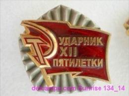 SOVIET PIN With Communist Reward -Udarnik Of The Five-years Plan ( Udarnik Of Communist Labour ) 134_5186_14 - Militaria