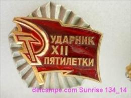 SOVIET PIN With Communist Reward -Udarnik Of The Five-years Plan ( Udarnik Of Communist Labour ) 134_5189_14 - Administraties
