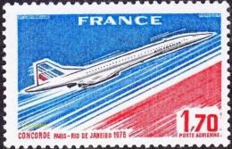 France Transport Avion N° PA  49 ** Poste Aérienne - Concorde - Mise En Service En 76 De La Ligne Paris Rio De Janeirio - Avions