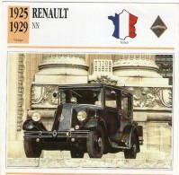 Fiche Technique Voiture 1925 / 1929  RENAULT NN - Cars