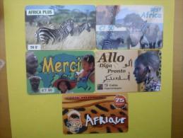 5 Prepaidcards Theme Africa Used - Telefoonkaarten