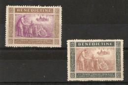VIGNETTE - PUBLICITE BENEDICTINE LIQUEUR (2 DIFFERENT COLORS) - Commemorative Labels