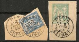 PARIS DEPART Dont SECTION De LEVEE Sur 2 SAGE. - 1876-1898 Sage (Type II)