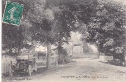 23011 VILLETTE -- (France 28 ) Pont Et Rue Principale -clic Bertran Mantes -vieille Voiture - Voitures De Tourisme