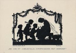 AK SILHOUETTE ANGEL SIGNIERT KARTE : GERDA L.MATTHËI SCHMIDT ,WEIHNACHTEN  AUS DER SAMMLUNG  No. 175. OLD POSTCARD - Silhouettes