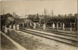 70 PORT D'ATELIER AMANCE ACCIDENT TRAIN CARTE PHOTO LOCOMOTIVE EST 31032 - France