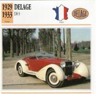 Fiche Technique Voiture 1929 / 1933 DELAGE D8S - Voitures