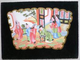 Litho Dessin Double 14x19cm Scene De Vie Japon Asie Japonaise Femme Geisha Geishas Sari Feutre Velour Noir Dorure - Cartes Postales
