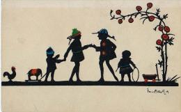 AK SILHOUETTE Kinder Mit Spielzeug SpielenELEFANT UND Hähne   SIGNIERT KARTE ,No. 2925.OLD POSTCARD - Silhouettes