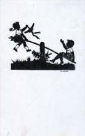 AK SILHOUETTE Kinder Schaukel Auf Wippe  SIGNIERT KARTE: PAUL BUNKE,  ,No. 2.OLD POSTCARD 1923 - Silhouettes