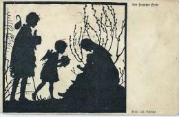 AK SILHOUETTE ANGEL SIGNIERT KARTE : GERDA LUISSE SCHMIDT .OLD POSTCARD - Silhouettes