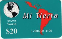 USA - Mi Tierra, Access World Prepaid Card $20, Used - Unclassified