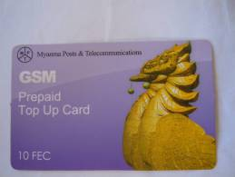 Myanmar Birmanie Burma Birma Hinta (bird) Elite Tech 10 FEC Mobile GSM Prepaid TOP UP Card EXP: No Date - Myanmar