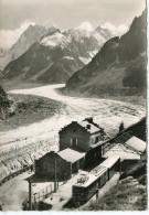 CPSM 74 CHAMONIX LA GARE DU MONTENVERS ET LA MER DE GLACE  Grand Format 15 X 10,5 - Chamonix-Mont-Blanc