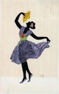 AK SILHOUETTE Tänzer Mit Lüfter  SIGNIERT KARTE : M.G.,. Nr.226.,OLD POSTCARD 1928 - Silhouettes