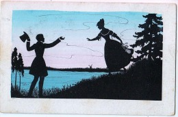 AK SILHOUETTE.PAARE JUNGE GELIEBTE HVB.Nr.3326.OLD POSTCARD 1924 - Silhouettes