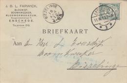 Briefkaart 11 Apr 1912 Enschede *1* (typerader Langebalk) Naar Biezelinge - Poststempels/ Marcofilie