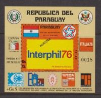 Paraguay 1976 Interphil Philatelic Exhibitions Sheet With Perforated Value Overprint Muestra MNH - Paraguay