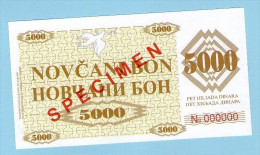 BOSNIA - BOSNIEN UND HERZEGOWINA, 5000 Dinara 1992 UNC SPECIMEN No. 000000. - Bosnië En Herzegovina