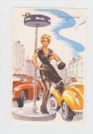 """Illustrateur LOUIS CARRIERE - N°374 PHOTOCHROM Femme Pin´up Homme Voiture Accident Robe Déchirée """"sens Giratoire"""" - Carrière, Louis"""