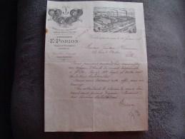 """Ancienne Facture""""Distillerie E.Porion""""Produits Chimiques Et Engrais 1898 Wardrecques France - France"""