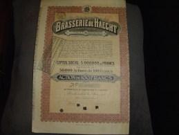 """Action""""Brasserie De Haecht""""Boortmeerbeek 1921 Annulée,sans Coupon. - Industrie"""