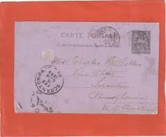 ENTIER SAGE 10C SUR CP PARIS 22/1/89 POUR SCRANTON USA - Marcophilie (Lettres)