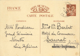 Carte Interzone Iris 90 Centimes - De Nantes Dans La Loire-Atlantique à Saurat Dans L'Ariège - Documents
