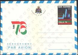 "SAN MARINO - INTERI POSTALI - AEROGRAMMA AEROGRAMME - ITALIA 76 - L. 180 - 1976 - CATALOGO FILAGRANO ""A8"" - NUOVO - Poste Aérienne"