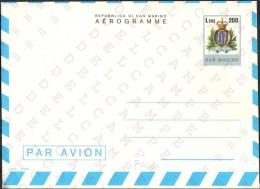 "SAN MARINO - INTERI POSTALI - AEROGRAMMA AEROGRAMME - ORDINARIO - L. 200 - 1978 - CATALOGO FILAGRANO ""A10"" - NUOVO - Poste Aérienne"