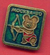 F3 / SPORT - Archery - Tir à L'arc - Bogenschiessen Misha Bear 1980 Summer XXII Olympics Games Moscow RUSSIA Badge Pin&a - Archery