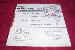 ROGER PLANCADE ° AU SOLEIL   / AUTOGRAPHE SUR VINYLE 45 TOURS - Autographes