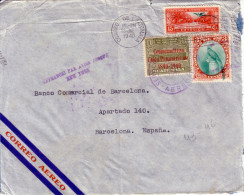 GUATEMALA - LETTRE AERIENNE POUR L'ESPAGNE  LE 28-6-1940 - GRIFFE AFFRANCHI PAR AVION JUSQU'A NEW-YORK - VERSO CENSUR  . - Guatemala
