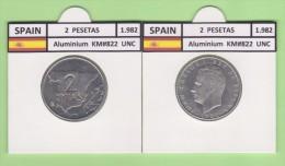 SPAIN /JUAN CARLOS I    2  PESETAS  1.982   Aluminium  KM#822   UNCirculated  T-DL-9385 - [ 5] 1949-… : Royaume