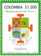 Lote 19p5, Colombia, 2012, Cauca, Sello, Stamp, Heraldica, Heraldry, Mountain, Vulcano, Volcan - Colombia