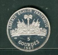 5 Gourdes Haiti, Année 1967 , Argent 999% , Poids 23,52 Grammes , Tirage 4650  - Pic2001 - Haïti