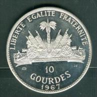 10  Gourdes Haiti, Année 1967 , Argent 999% , Poids  47,05 Grammes , Tirage  6750  - Pic2002 - Haïti
