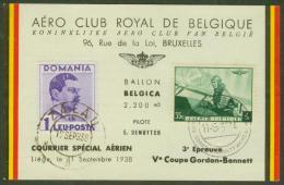 Aéro Club Royal De Belgique - Courrier Spéciale Aérien - Liège Le 11 Septembre 1938 - Airmail