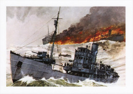 Maritime Art Postcard Trawlers Go To War Chris Mayger Painting WW2 Navy - Fishing Boats