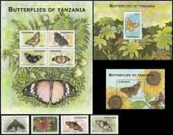 tan0912c0 Tanzania 2009 Butterflies 4v+3s/s Flower