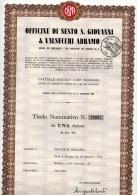 OFFICINE DI SESTO SAN GIOVANNI &VALSECCHI-31-10-1963-TIT OLO NOMINATIVO DA UNA AZIONE DA LIRE 10 - Industrie
