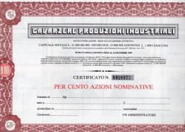 CAVARZERE PRODUZIONI INDUSTRIALI-CERTIFICATO PER CENTO AZIONI - Industrie